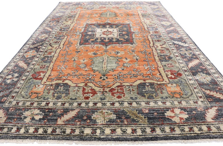 Arts and Crafts Contemporary Silk Area Rug with Heriz Pattern and Arts & Craft Artisan Style For Sale