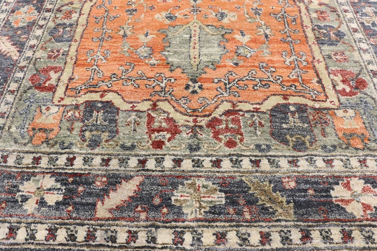 Indian Contemporary Silk Area Rug with Heriz Pattern and Arts & Craft Artisan Style For Sale