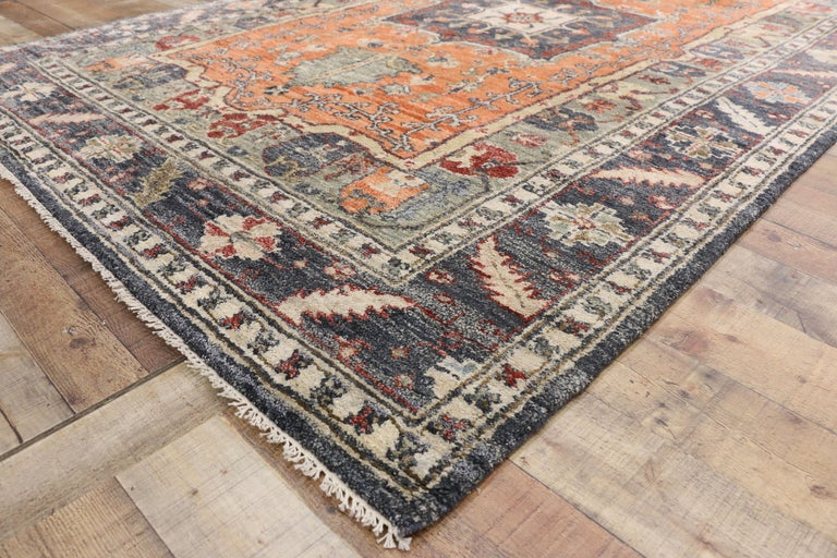 Contemporary Silk Area Rug with Heriz Pattern and Arts & Craft Artisan Style In New Condition For Sale In Dallas, TX
