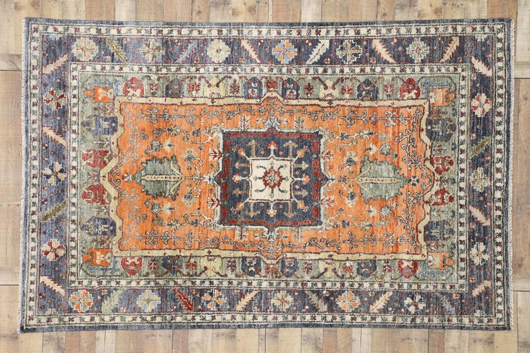 Contemporary Silk Area Rug with Heriz Pattern and Arts & Craft Artisan Style For Sale 1