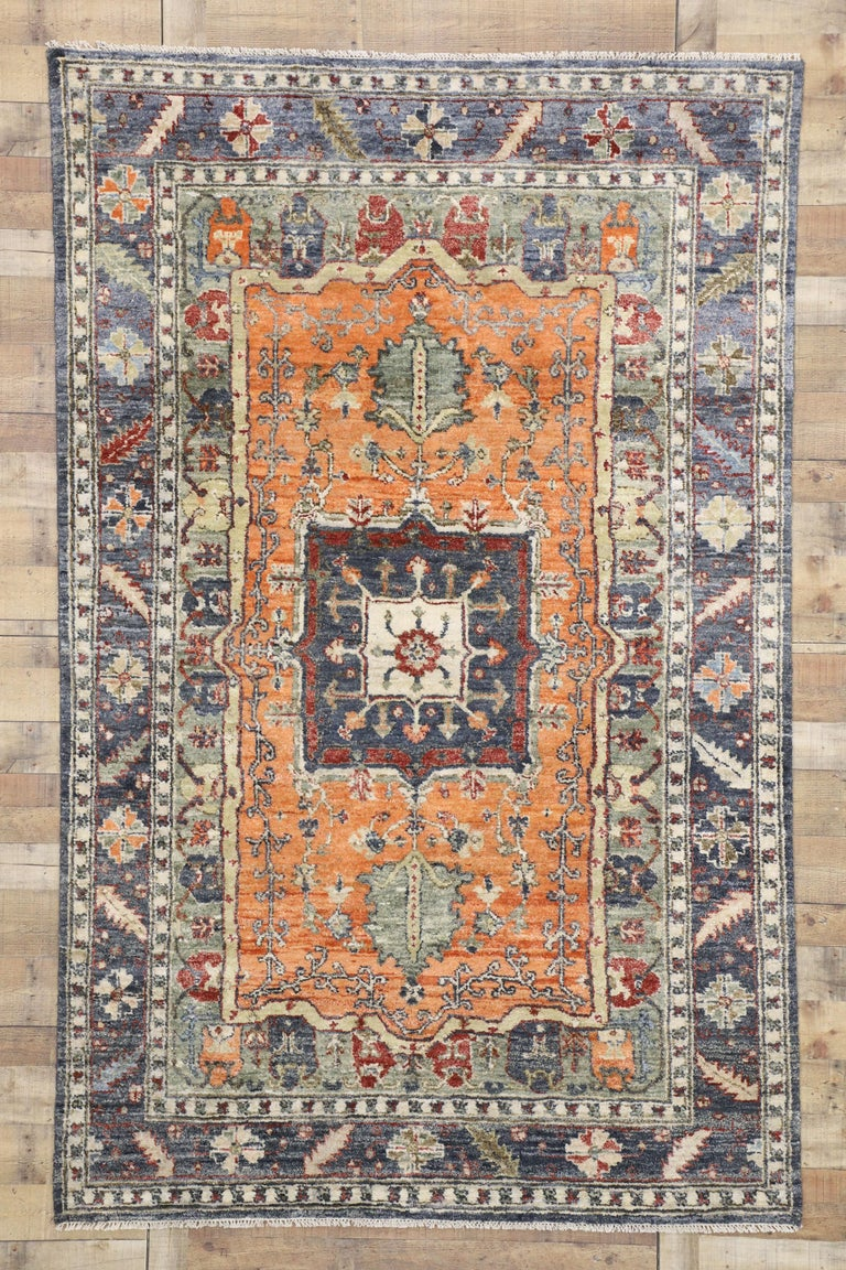 Contemporary Silk Area Rug with Heriz Pattern and Arts & Craft Artisan Style For Sale 2