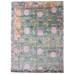 Contemporary Silk Ikat Area Rug with Colorful Abstract Expressionist Style