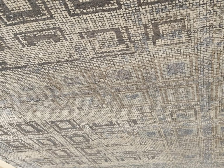 Contemporary Silk Rug with Ancient Byzantine Mosaic Pattern For Sale 4