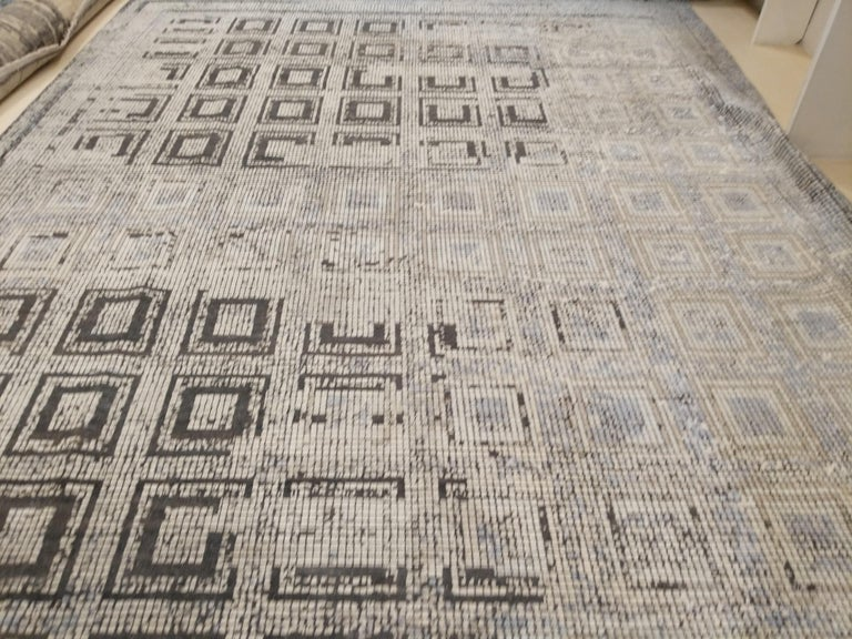 Contemporary Silk Rug With Ancient Byzantine Mosaic