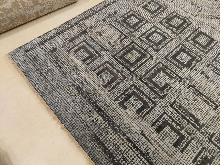 Indian Contemporary Silk Rug with Ancient Byzantine Mosaic Pattern For Sale