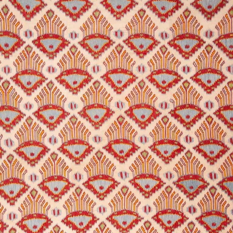 A new suzani from Uzbekistan displaying an ikat like design.