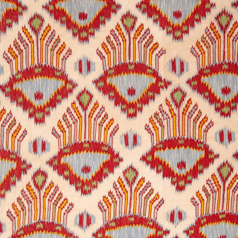 Uzbek Contemporary Silk Suzani Inspired by Ikat Design, 21st Century For Sale