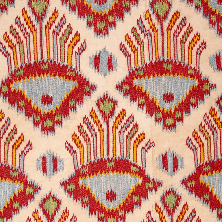 Embroidered Contemporary Silk Suzani Inspired by Ikat Design, 21st Century For Sale