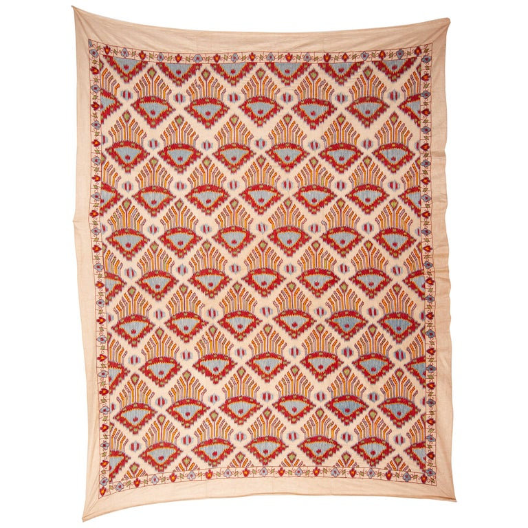 Contemporary Silk Suzani Inspired by Ikat Design, 21st Century For Sale