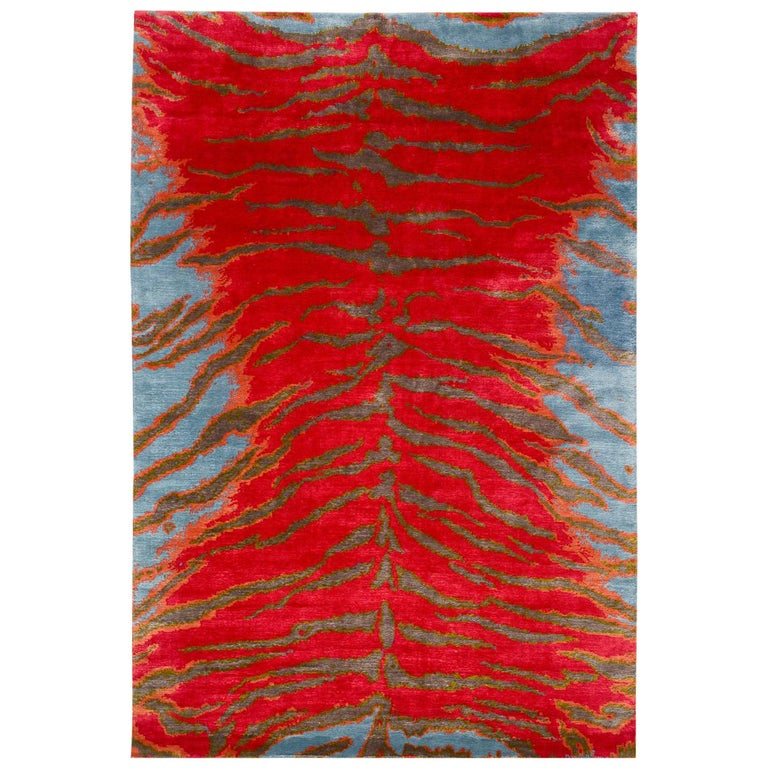 Contemporary Silk Tiger Rug by Carini For Sale