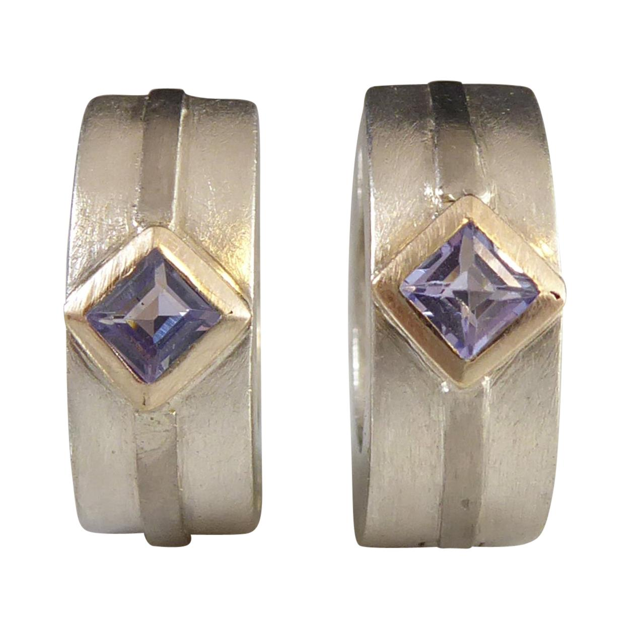 Contemporary Silver and Amethyst Hoop Earrings for Pierced Ears