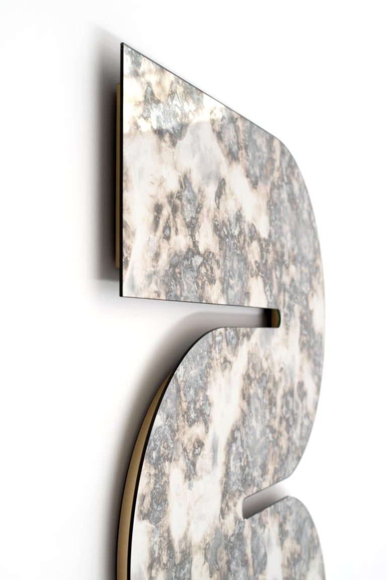 Contemporary Silver Antiqued Serpens Mirror by Ben & Aja Blanc For Sale