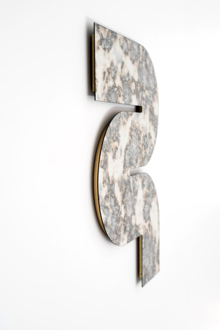 Brass Silver Antiqued Serpens Mirror by Ben & Aja Blanc For Sale