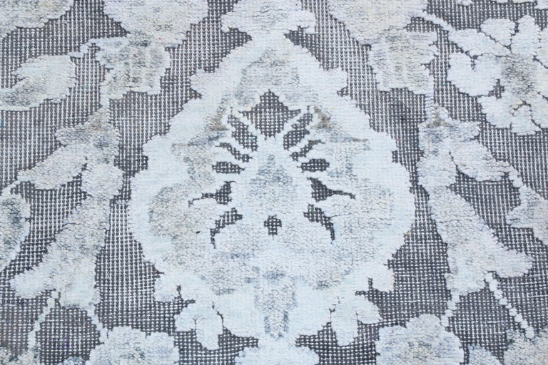 Hand-Knotted Contemporary Silver Gray Wool and Silk Rug For Sale