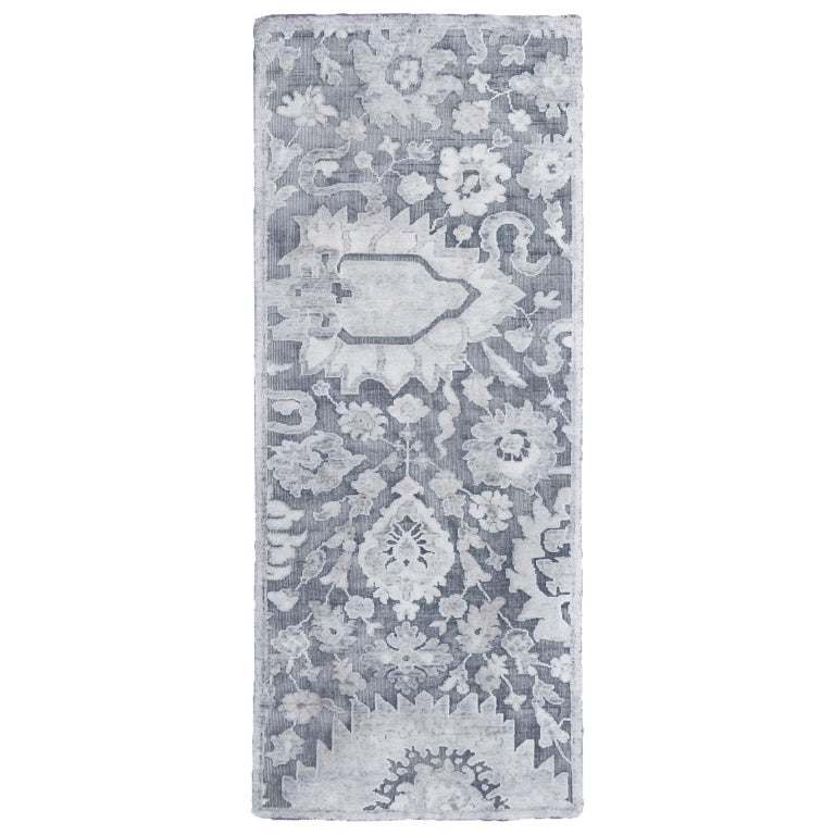 Contemporary Silver Gray Wool and Silk Rug For Sale 2