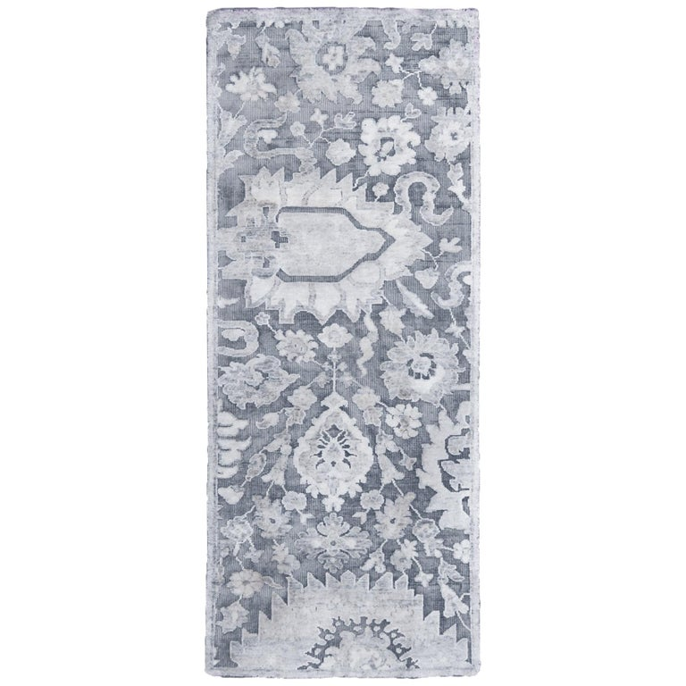 Contemporary Silver Gray Wool and Silk Rug For Sale