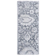 Contemporary Silver Gray Wool and Silk Rug