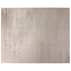 Contemporary Silver Silk Rug