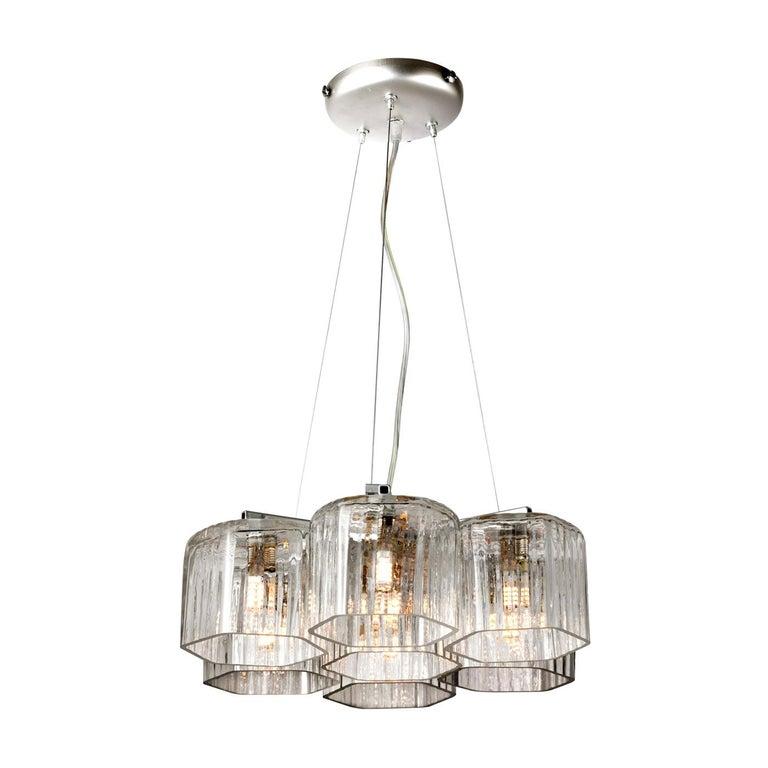 Contemporary Silver Transparent Chandelier For Sale