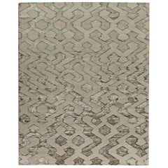 Contemporary Silver with Matte Gray Hand-knotted Wool Rug