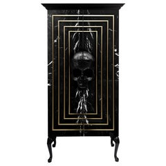 Contemporary Skull Wardrobe, Black, Marble, Brass, Hand Carved