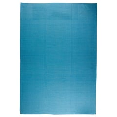 Contemporary Sky Blue Flat-Woven Wool and Silk Rug