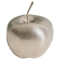 Contemporary Small Apple Sculpture in White Bronze by Robert Kuo