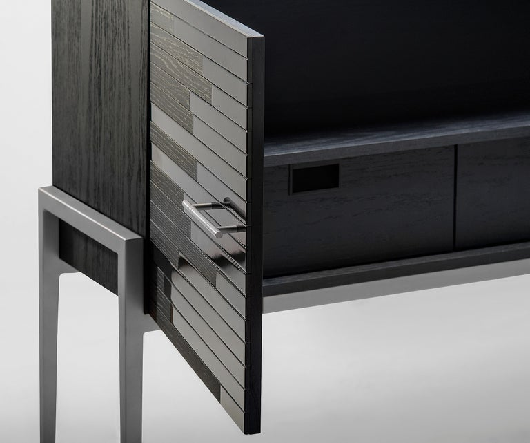 Brazilian Contemporary Small Cabinet for Living Room in Black Lacquer and Black Oak  For Sale