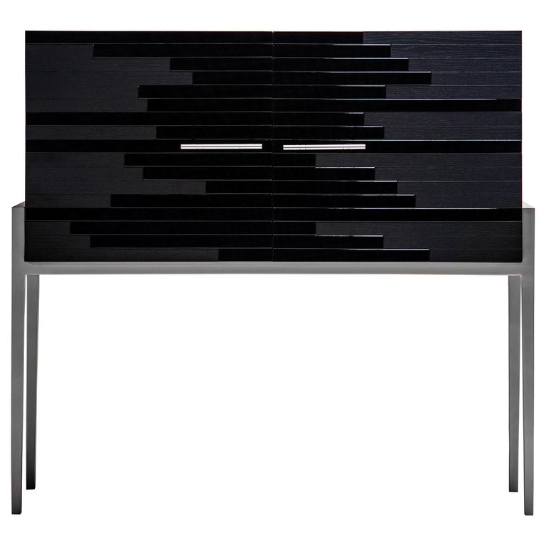 Contemporary Small Cabinet for Living Room in Black Lacquer and Black Oak  For Sale