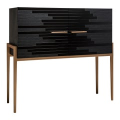 Modern Small Liquor Cabinet for Living Room in Black Lacquer and Black Oak