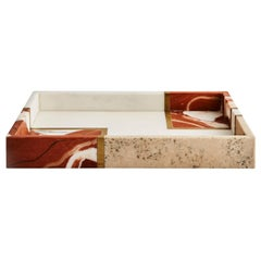 Contemporary Small Marble, Travertine and Brass Diane Tray by Greg Natale
