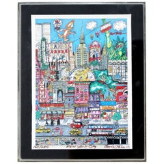 Contemporary Small NYC 3D Serigraph Signed Charles Fazzino Lucite Framed 160/200