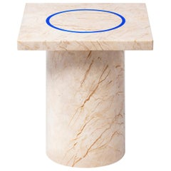 Contemporary Small Table 'DISLOCATION' in Golden Marble by Buzao 'Square'