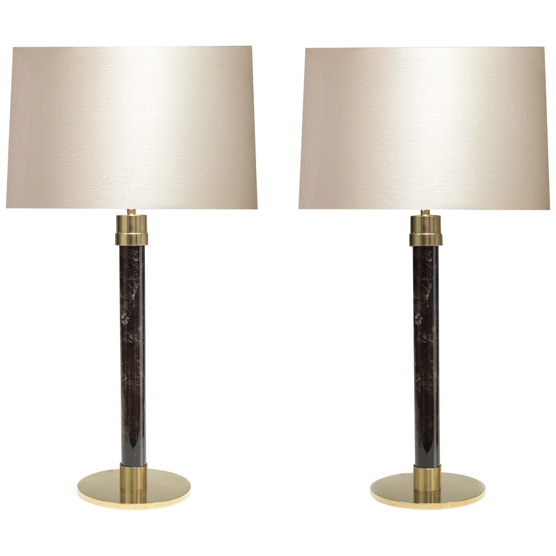Contemporary Smoky Rock Crystal Quartz Lamps
