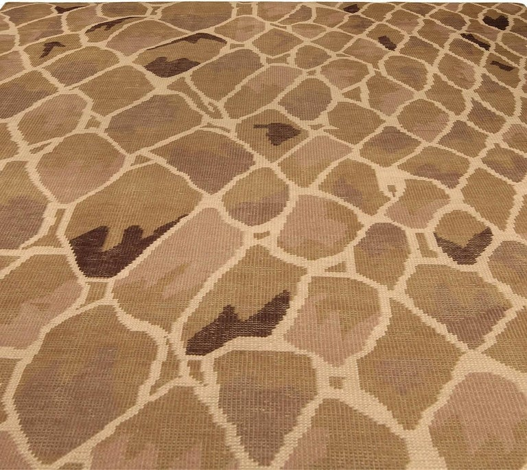 Modern Contemporary Snake Design Hand Knotted Wool Rug For Sale