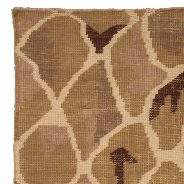 Hand-Knotted Contemporary Snake Design Hand Knotted Wool Rug For Sale