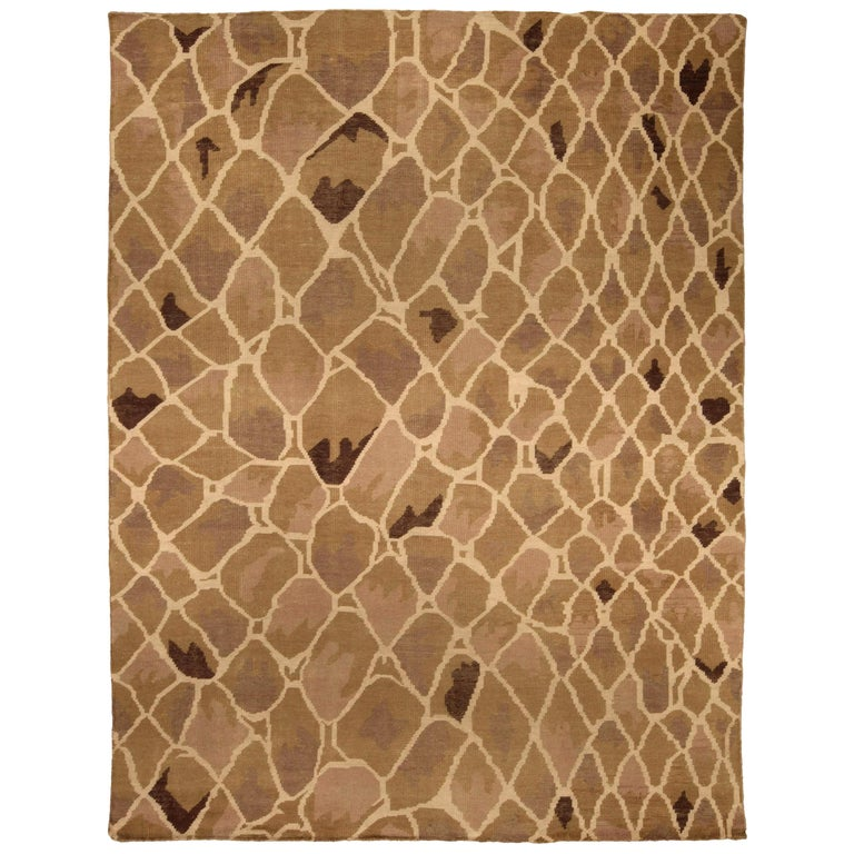 Contemporary Snake Design Hand Knotted Wool Rug For Sale