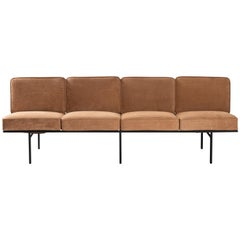 Contemporary Sofa in Steel and Leather, ´Deia´ by Samuel Lamas