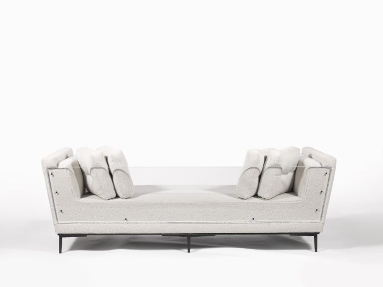 Modern Contemporary Sofa with Cast Bronze Legs and Lucite Back For Sale