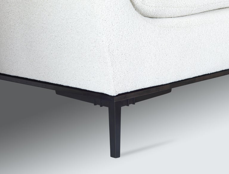 American Contemporary Sofa with Cast Bronze Legs and Lucite Back For Sale