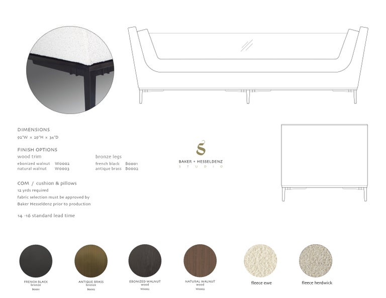 Wood Contemporary Sofa with Cast Bronze Legs and Lucite Back For Sale