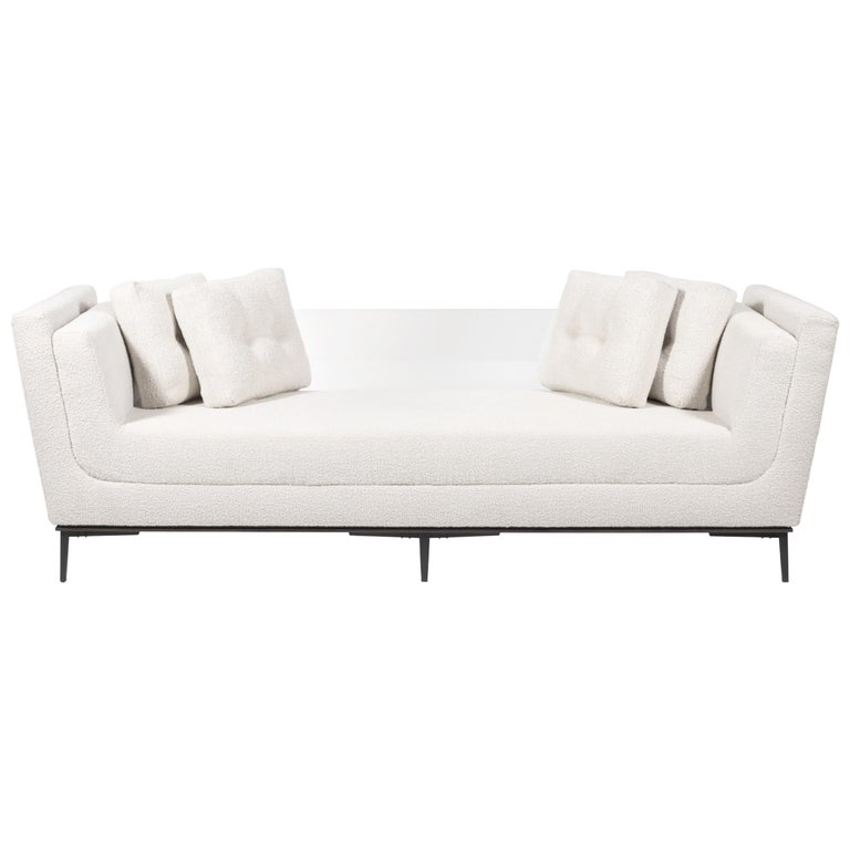 Contemporary Sofa with Cast Bronze Legs and Lucite Back