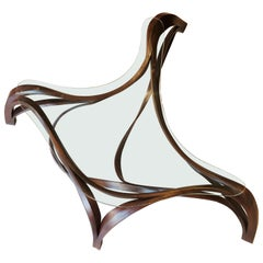 Contemporary Solid Bentwood Coffee Table with Safety Glass Top by Raka Studio