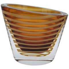 Contemporary Solid Murano Glass Vase by Cenedese, Amber Color, late 1990s