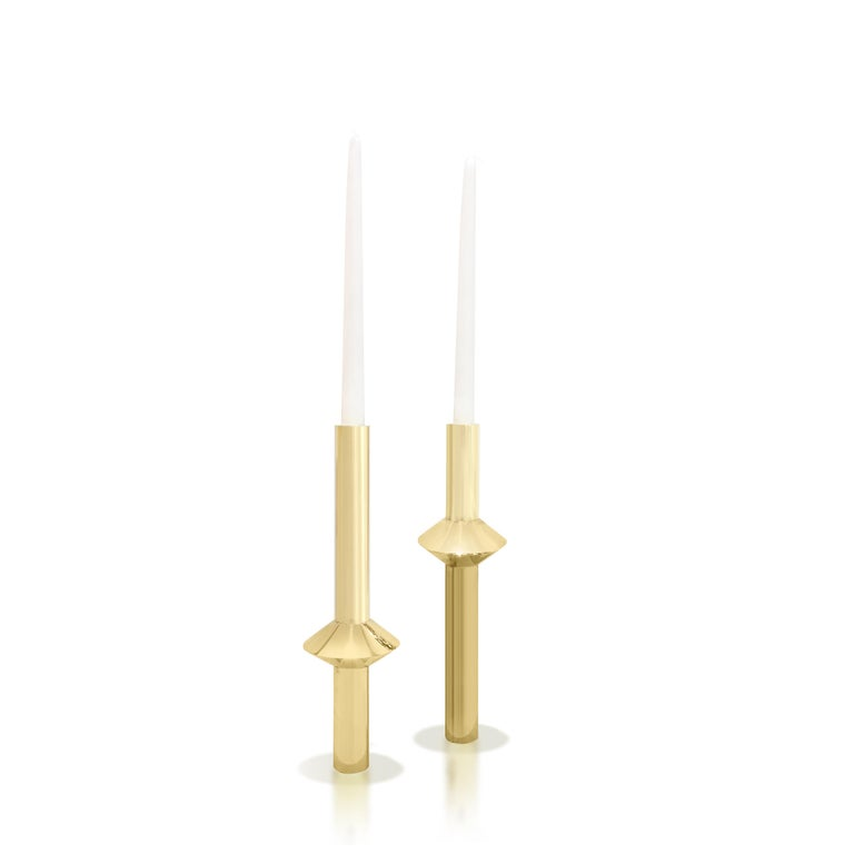 Contemporary Solid Swedish Brass Modern Minimalist Candlesticks In New Condition For Sale In New York, NY