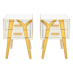 Contemporary Solid Wood and Glass Italian Pair of Bedside Tables by L.A. Studio