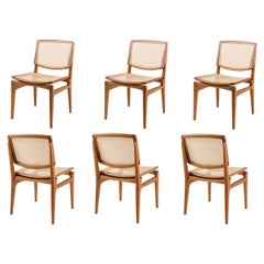 Contemporary Solid Wood Chair, Handwoven Rattan Back and Seat