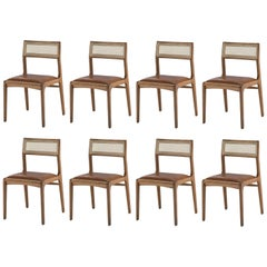 Contemporary Solid Wood Dining Chair with Caning
