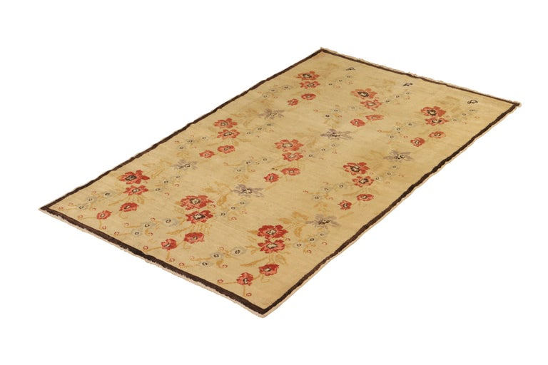 Islamic Contemporary Sparta Rug Beige Red Floral Pattern For Sale