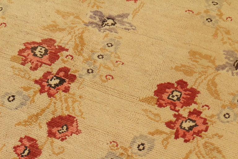Turkish Contemporary Sparta Rug Beige Red Floral Pattern For Sale